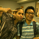 picture of two students smiling and making funny faces